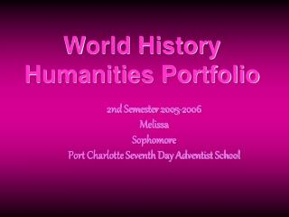 World History Humanities Portfolio