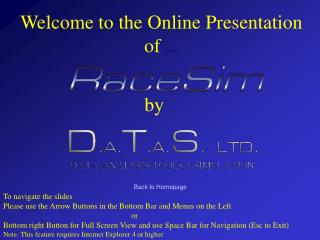 Welcome to the Online Presentation of  RaceSim