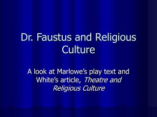 Dr. Faustus and Religious Culture