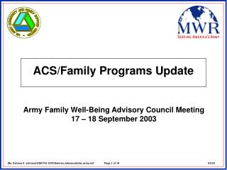 ACS/Family Programs Update
