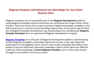 Magento Templates and Extensions Can Work Magic