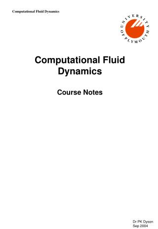 Computational Fluid Dynamics Course Notes