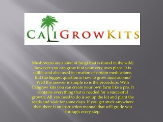 How To Grow Mushrooms - Caligrowkits