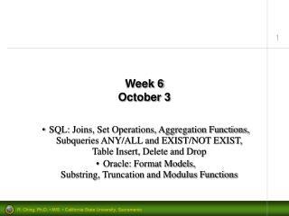 Week 6 October 3