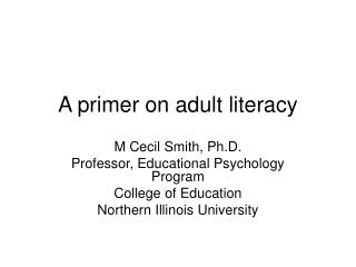 A primer on adult literacy