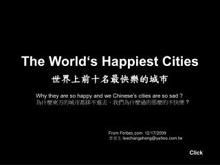 The World s Happiest Cities