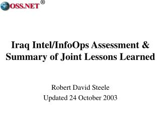 Iraq Intel/InfoOps Assessment & Summary of Joint Lessons Learned