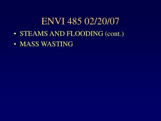 ENVI 485 02/20/07