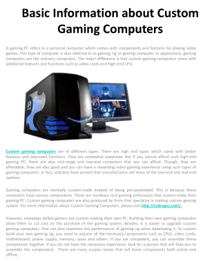 Basic Information about Custom Gaming Computers