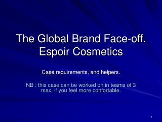 The Global Brand Face-off. Espoir Cosmetics