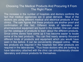 Procuring Medical Products