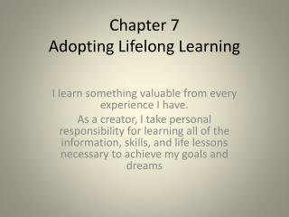 Chapter 7 Adopting Lifelong Learning