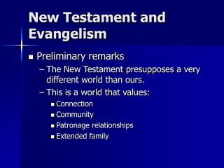 New Testament and Evangelism