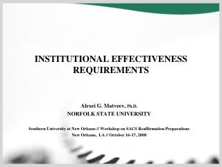 INSTITUTIONAL EFFECTIVENESS REQUIREMENTS