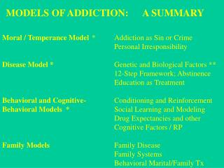 Moral / Temperance Model 	*	Addiction as Sin or Crime  					Personal Irresponsibility Disease Model * 			Genetic and Bio