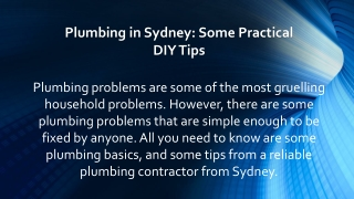 Plumbing in Sydney: Some Practical DIY Tips