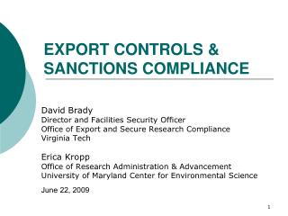 EXPORT CONTROLS  SANCTIONS COMPLIANCE