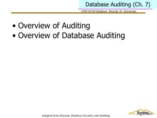 Database Auditing (Ch. 7)