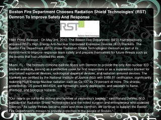 Boston Fire Department Chooses Radiation Shield Technologies