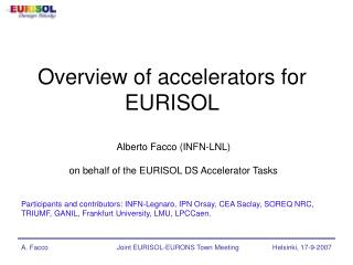 Overview of accelerators for EURISOL