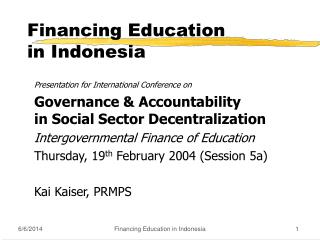 Financing Education  in Indonesia