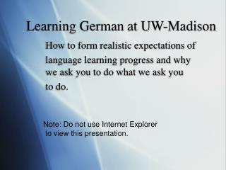 Learning German at UW-Madison