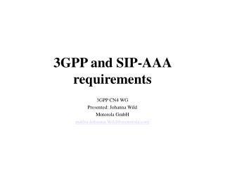 3GPP and SIP-AAA requirements