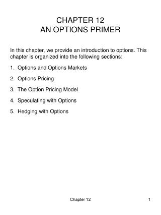 CHAPTER 12 AN OPTIONS PRIMER