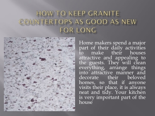 How to Keep Granite Countertops as Good as New for Long