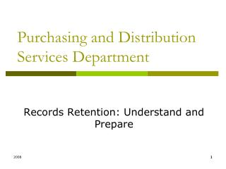 Purchasing and Distribution Services Department