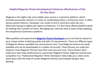 Helpful Magento Theme Development Enhances effectiveness