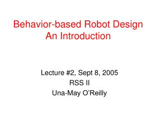 Behavior-based Robot Design An Introduction
