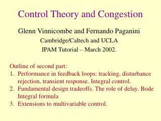 Control Theory and Congestion