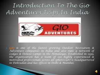 Introduction To The Gio Adventures Trips In India