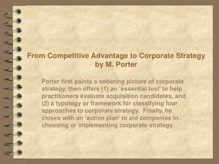 From Competitive Advantage to Corporate Strategy by M. Porter