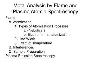 Metal Analysis by Flame and Plasma Atomic Spectroscopy