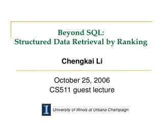 Beyond SQL:  Structured Data Retrieval by Ranking