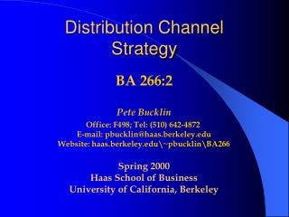 Distribution Channel Strategy