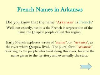 French Names in Arkansas