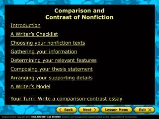 Comparison and  Contrast of Nonfiction