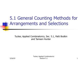 5.1 General Counting Methods for Arrangements and Selections
