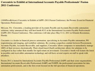 corcentric to exhibit at international accounts payable prof