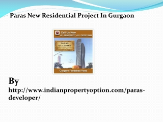 Paras New Residential Project In Gurgaon Call 9650268727