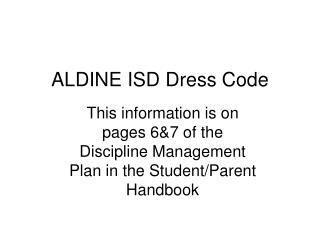 ALDINE ISD Dress Code