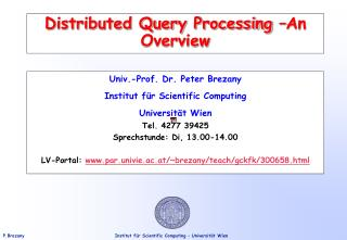 Distributed Query Processing  An Overview