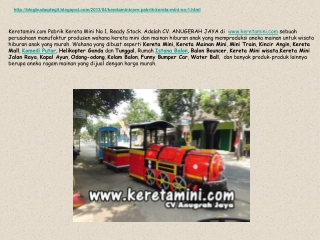 Keretamini.com Pabrik Kereta Mini No 1. Ready Stock Product