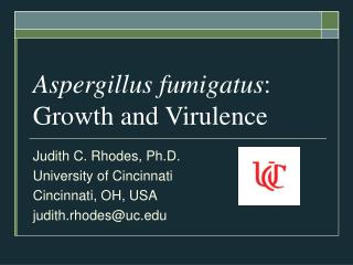 Aspergillus fumigatus : Growth and Virulence