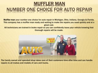 Mufflerman -  number one choice for auto repair