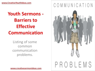 Youth Sermons - Barriers to Effective Communication