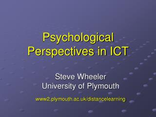Psychological Perspectives in ICT